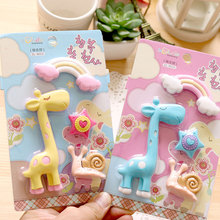 4pcs/set JWHCJ Cute Giraffe&Rainbow&Snail&stars rubber eraser kawaii creative stationery school supplies papelaria gift for kids(China)