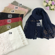 Single End With Lace Luxury Diamond Party Scarf Muslim Hijab 2017 Fahion Women Shawls And Scarves Wrap 10pcs /lot