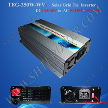 ce rohs mppt 12v dc to 220v ac solar grid tie inverter 250w with switch(China)