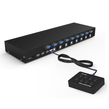 MT-VIKI 8 Port KVM Switch VGA USB Manual Keypress with Wired Remote Extension Switcher PC Selector for 8 PC 1 Monitor MT-801UK