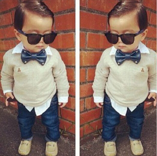 ST102 Free shipping 2014 boy clothes set with a bow tie twinset long sleeve denim set top + jeans children clothjing set kid set<br><br>Aliexpress