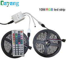 Flexible 5050 LED Strip RGB 10m 600leds Waterproof Stripe Light 10m RGB led strip kit With 44 keys Remote Control Free shipping