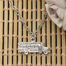 new fashion school bus Pendants round cross chain short long Mens Womens DIY silver necklace Jewelry Gift(China)