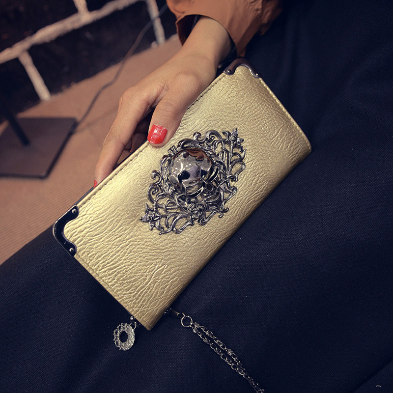 New Arrival   Women Wallet Luxury   Fashion Long wallets High Quality Ladies Clutches Coin Purse Card Holder STskulls Gold<br><br>Aliexpress