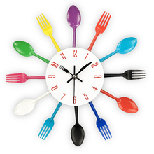 Cutlery Design Wall Clock Metal Colorful Knife Fork Spoon Kitchen Clocks Creative Modern Home Decor Antique Style Wall Watch(China)