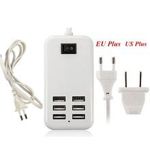 6 Ports Portable USB Hub Desktop EU/US Plug Wall Charger AC Power Adapter for iphone samsung HTC ect smartphones