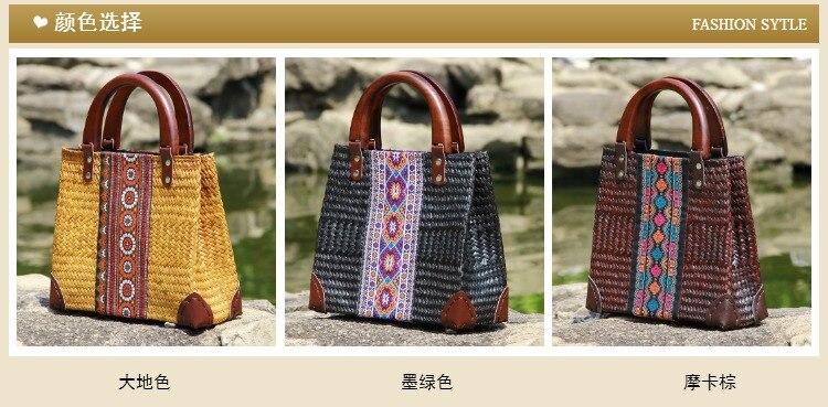 National wind handmade straw weaving bag fashion travel environmental protection ladies handbag beach retro bag