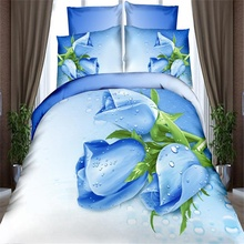 Blue Rose 3D Floral Print Bedding Sets for Queen King Size Bed,100% Cotton Duvet Cover Bed Sheet Pillowcase Bed in a Bag 4pcs(China)