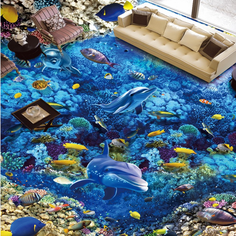 Free Shipping blue sea world fish flooring photo sticker bedroom home restaurant aquarium floor wallpaper mural<br>