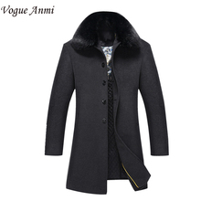 Vogue Anmi. 2017 new arrival men's wool coat medium-long male thickening cashmere larrge outerwear winter trench plus size M-3XL