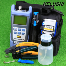 KELUSHI 9pcs/set FTTH Tool Kit with FC-6S Fiber Cleaver and Optical Power Meter 1mW Visual Fault Locator Fiber Optic Stripper