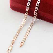 4mm 45cm-100cm Customize Men Womens Girl Gift White Rose Gold Filled Necklaces Curb Chain Mixed Color Jewelry