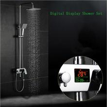 LCD Digital time and temperature display Shower faucet.8 inch square rain shower head.Cold-hot water bathroom mixer