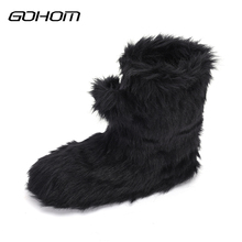 Buy GOHOM Thick Plush Warm Indoor Slippers Floor Shoes Women's Luxury Black Shoes Non-slip Soft Bottom Home Shoes Slippers Pantufa for $18.26 in AliExpress store