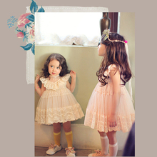 Kids Girls' Dress With Sheer Lace Princess Baby Girl Birthday Party Dress Korean style Children girls Dress up Aged 2-7 Years