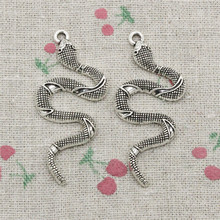 3pcs Charms snake cobra Ancient Silver Charms Pendant Zinc Alloy Jewelry DIY Hand Made Bracelet Necklace Fitting 53*23mm
