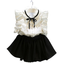 Trendy Toddler Girl Clothes Set Kids Summer Striped T-shirt Tops + Chiffon Skirt Outfit Child Suit Princess Girl Clothing Sets