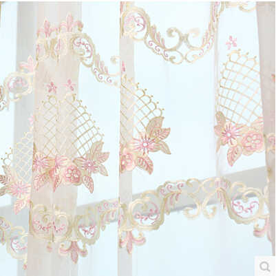 high quality  white with pink embroidered tulle curtains for living room,cutout  flower voile blind sheer window screens curtain