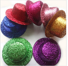 Wholesale 12pcs/lot 13CM BIg Hen Party Felt Glitter Mini Top Hat Shining Fascinator Hat Base. DIY Kid Hat Hair Clip Accessorie