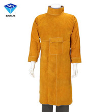 Durable Leather Welding Long Coat Apron Protective Clothing Apparel Suit Welder Workplace Safety Clothing Genuine BINYEAE(China)