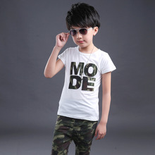 New Fashion Kids Boy Summer Clothes Camouflage Cotton Short Sleeve T-shirt +Pants Clothes For Boys Trendy Clothing High Quality