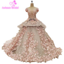 Buy 100% Real Photos Amazing High-end Wedding Dress Lace Appliques 3D Flowers Bridal Ball Gown Wedding Dress Long Train Bridal Dress for $664.20 in AliExpress store