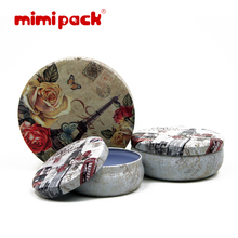 Mimi Pack tin gift box lace pehcans round snacks storage bag tea caddy