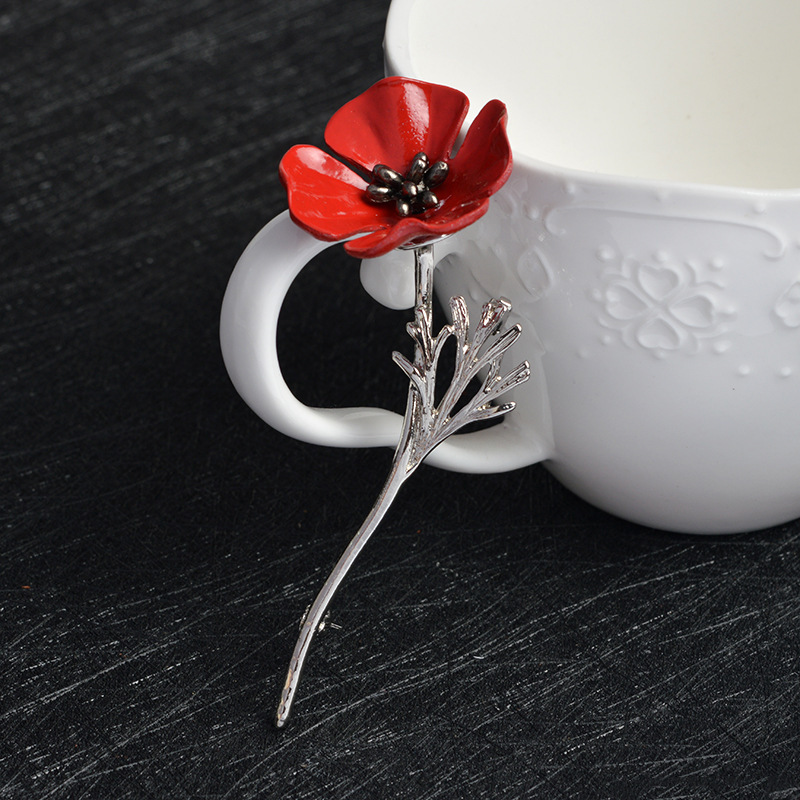 Black Gold Color Vintage Brooch Antique Red Poppy Flower Nrooch Pins Large Brooches for Women Men Suit Collar Accessories X424   (2)