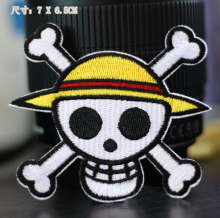 7x6.5cm One Piece Straw Hat Pirates Luffy Logo Embroidered Iron-On Patches For Clothes Garment Applique DIY Accessory