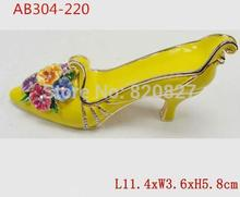 Wholesale Cheaper Price Vintage Crystals Peep Toe Shoe Ring Holder Trinket Box with Quality Czech Crystal(China)