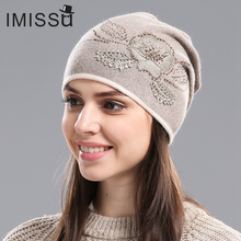 IMISSU Women's Winter Hats Hot Sale Gorros for Female Knitted Wool Casual Beanie Cap with Flower Pattern Gorros Thick Warm Hat(China)