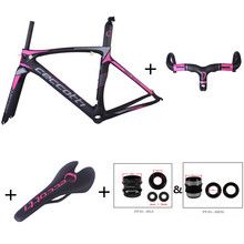 chinese carbon frames hot selling Toray T1100 frameset+handlebar+saddle+adapotor pink bike frame racing bike carbon frame(China)
