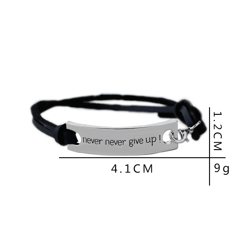 Never Never Give Up Silver Plated Bangle Leather Bracelet