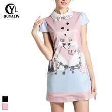 4XL 5XL Women Plus Size Crown Swan Printed Dress  Summer Fashion Above Knee-length Casual Dresses Blue/Pink 2272