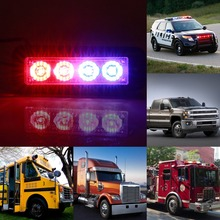 CYAN SOIL BAY 4 LED 4W Flash Warning Strobe Emergency Light Grille Beacon Lamp Red Blue Car(China)