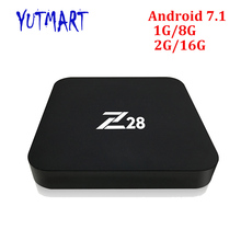 Full HD Media Player H.265 2.4G Wifi 4K Support 1GB DDR3 8GB eMMC Quad Core Smart Android 7.1 Rockchip RK3328 TV Box Z28(China)