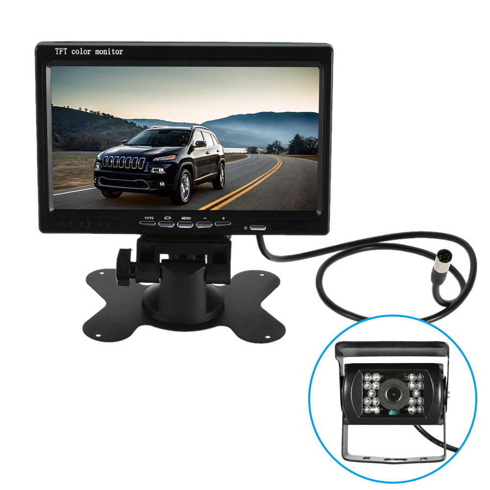 7'' Large TFT LCD Monitor Wireless Video Transmit Car Rear View Backup Reverse System for Bus Truck with LED Night Vision Camera(China)