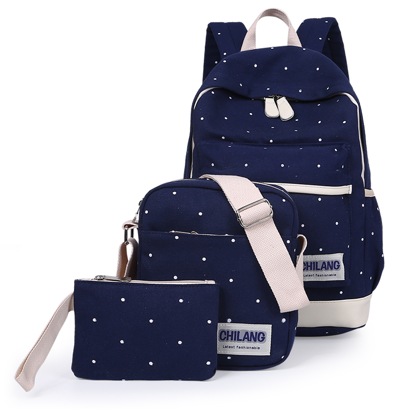 3Pcs/Sets Korean Casual Women Backpacks Canvas Book Bags Preppy Style School Back Bags for Teenage Girls Composite Bag Navy Blue<br><br>Aliexpress