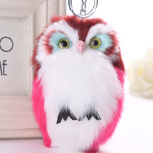 Lovely Fluffy Pompom Animal Owl Accessories Artificial Rabbit Fur Ball Charms Tools Women Car Accessories Ring Jewelry Trinket(China)