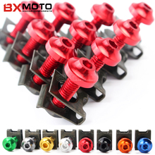 6mm M6 Fairing Body Work Bolts Spire Speed Fastener Clips Screw Spring Nuts 10PCS/lot for Yamaha TMAX 530 T MAX 500 Honda CR 250