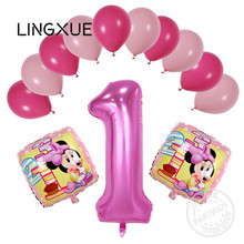 13pcs/lot Pink/blue number 1 helium balloons mickey minnie latex balloon kids birthday party decor baby shower princess ball