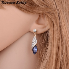 Fashion Brand Alloy Gold Color Statement Austria Blue Crystal Long Earrings Rhinestone Water Drop Elegant Earring Jewelry(China)