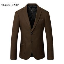 TIAN QIONG 2017 New Autumn/Winter Wool Suit Solid Color Slim Fit Mens Blazer Fashion Casual Suit Jacket Business Outerwear M-3XL(China)
