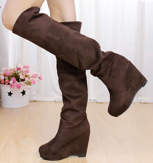 Two ways wear wedge high boots for woman 2017 autumn winter new warm fashion tall snow boots kneed high<br><br>Aliexpress