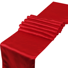 Wholesale New Free shipping 10PCS red Satin Table Runner For Wedding Party Banquet(China)