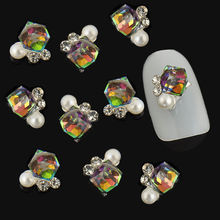 10pcs 3D Glitter Nail Art Decoration Multicolor Cube Pearl Rhinestone Jewelry