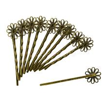 12 Pieces Filigree Daisy flower Hair Clip Bobby Pin Headwear Vintage Bronze Hair Accessories