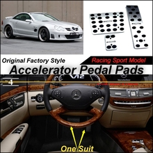 Car Accelerator Pedal Pad / Cover of Factory Model Design / Drill Type Install For Mercedes Benz SL MB R230 2001~2011 AT