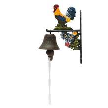 NEW Vintage Style Metal Cast Iron Rooster Door Bell Wall Mounted Home Garden Decor Access Control(China)