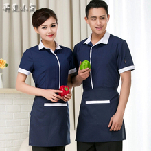 Summer waiter workwear set men short sleeve Hotel staff uniforms womens coffee shop blue cheap work shirt and Apron 2piece sets